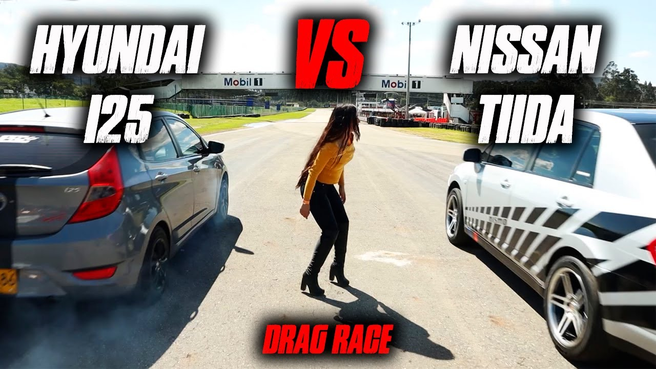 Hyundai I25 vs Nissan TIIDA 1/4 de Milla Drag race