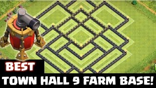Clash of Clans - BEST Layout Townhall 9 (AIR SWEEPER) FARMING BASE!
