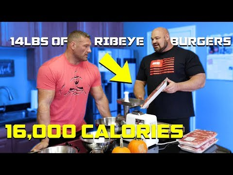 COOKING 14LBS (16,000 CALORIES) OF RIBEYE BURGERS | TERRY HOLLANDS | BRIAN SHAW