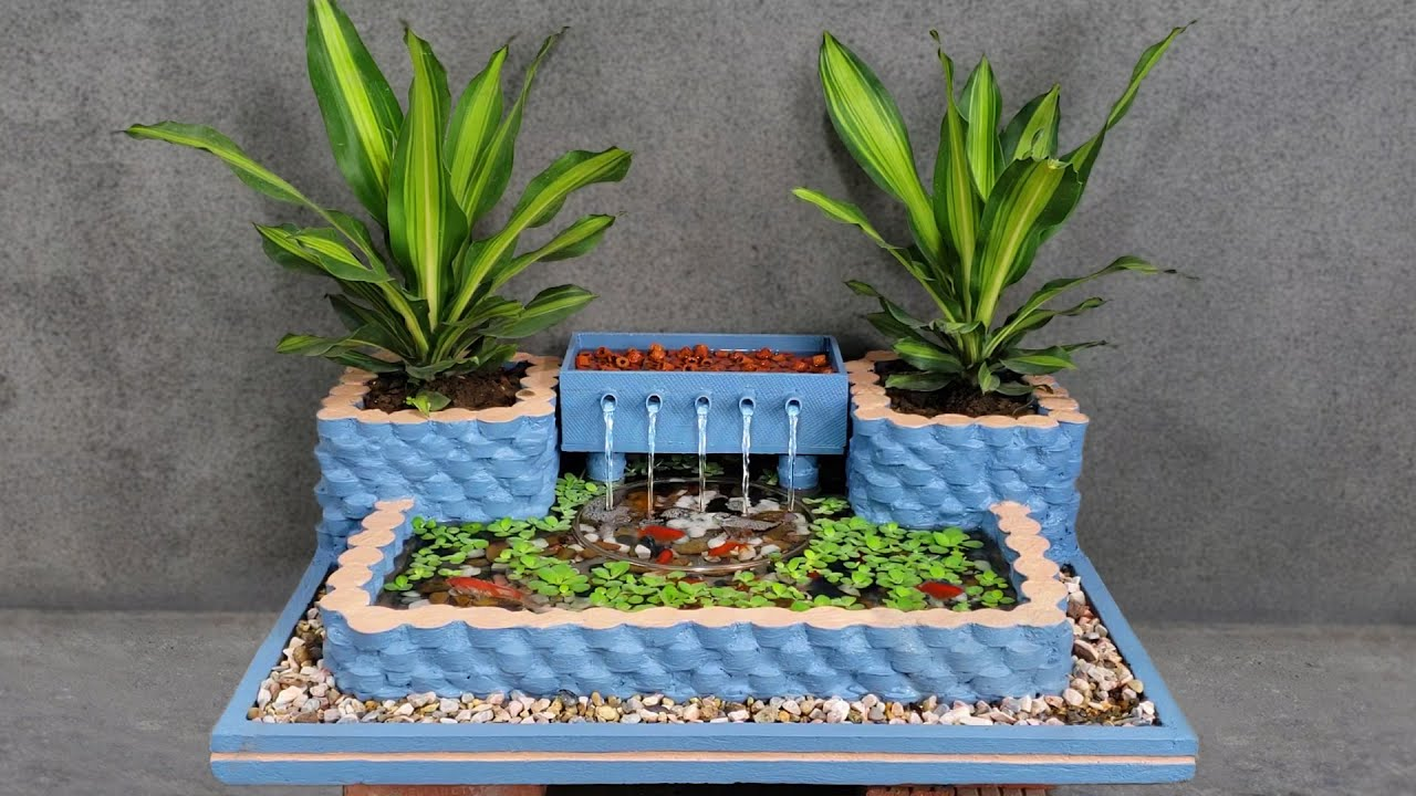 Wow! Amazing Idea with Cement - How To Make a Beautiful Waterfall Aquarium For Your Family