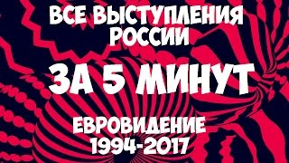 Все выступления России за 5 минут на Eвровидении 1994 2017 годы