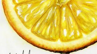 Realistic Lemon Slice WaterColor Paint l SPEED DRAWING
