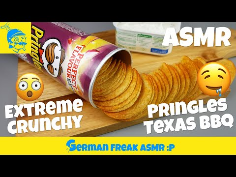 ASMR eating no talking: PRINGLES TEXAS BBQ potato chips (extreme crunching sounds)! (ポテトチップス)