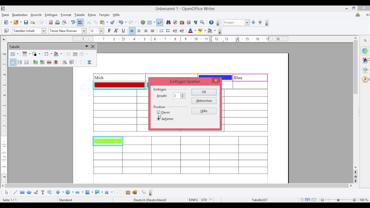 Openoffice tabelle auftrennen und verbinden zellen for Tabelle open office