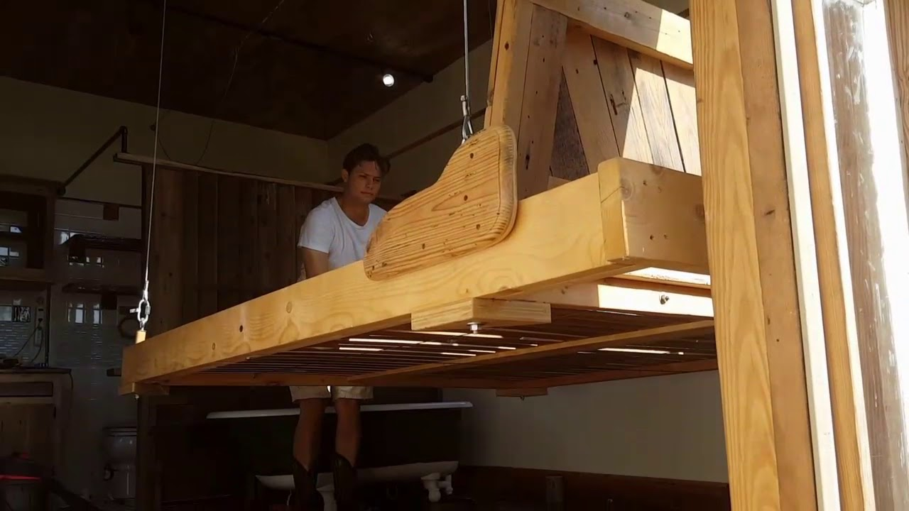 King size walk around elevator bed tiny house  YouTube
