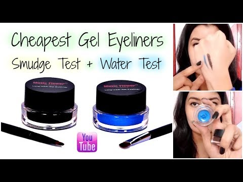 MUSIC FLOWER GEL EYELINER Review || Smudge Test + Water Test || Cheapest Gel Eyeliners in India