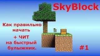 SkyBlock #1 Как правильно начать + ЧИТ на быстрый булыжник. Смотреть обязательно!