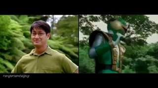 Power Rangers Ninja Storm Green Samurai Ranger First Appearance Split Screen (PR and Sentai version)