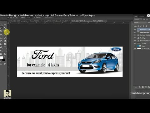 How to Design a web banner in photoshop   Very Easy way   Ad Banner Easy Tutorial by Vijay Aryan
