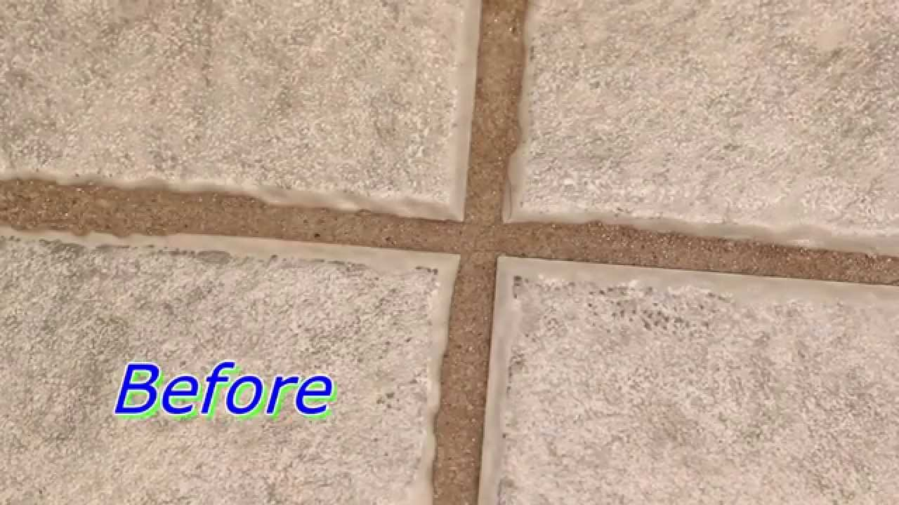 How to clean grout between floor tiles youtube for How to make grout white again
