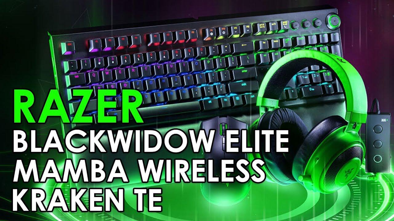 Razer Kraken Tournament Edition, Blackwidow Elite and Mamba