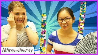 Last To Knock Over The Domino Tower Wins $100 (ft. Hevesh5)  / AllAroundAudrey