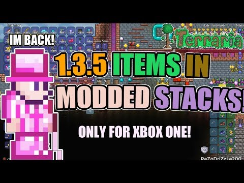 Terraria 1.3.5 Xbox One ALL ITEMS ON CHARACTERS WITH MODDED STACKS!! 19,999 STACKS