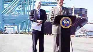 Schwarzenegger and McCain at Los Angeles Harbor