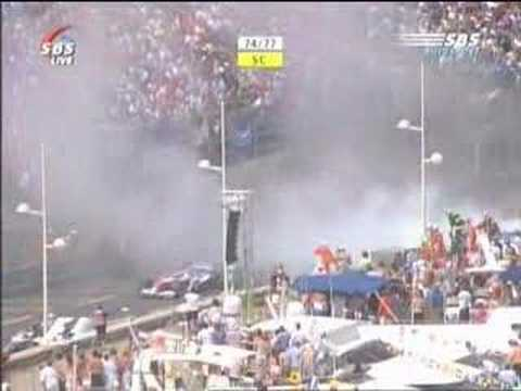 F1 Sato's blowout on Monaco 2004  (Dutch commentary)