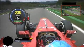 On board Fernando Alonso GP Belgium SPA F1 2013
