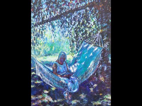 """A student rests"" A figure in shade & sunlight using acrylics."