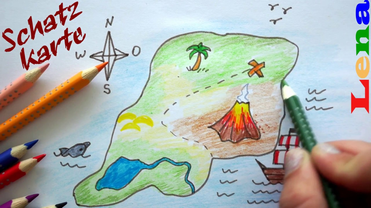 Piraten Schatzkarte Malen How To Draw A Pirate Treasure Map
