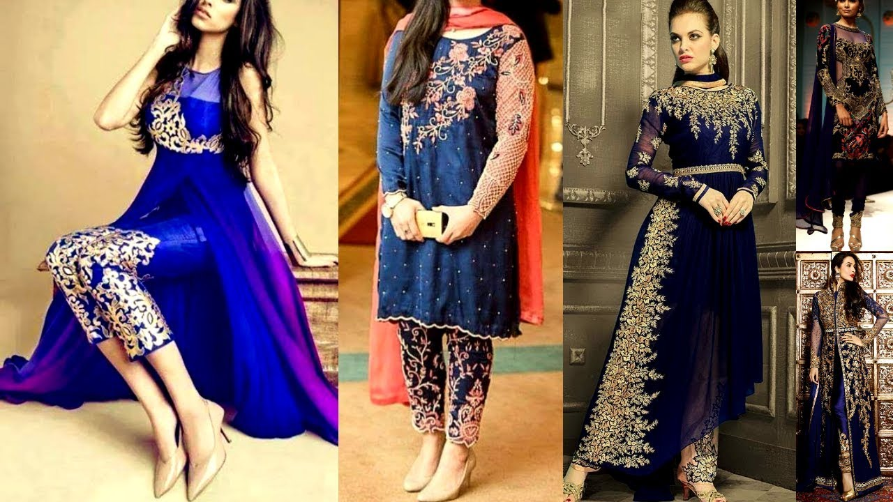 30e2405cd140 Viral/Trending Navy Blue color dresses Latest Navy Blue color dress designs  collection Beautiful You