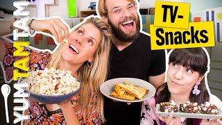 Die BESTEN TV-SNACKS // Rocky Road Bark, Bacon-Popcorn & Blätterteig-Waffel // #yumtamtam