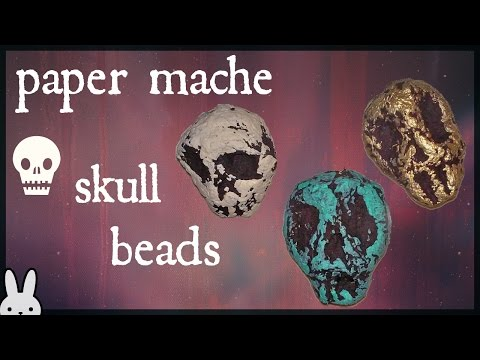 DIY: Paper Mache Skull Beads |faux turquoise handmade beads|tissue paper/newspaper