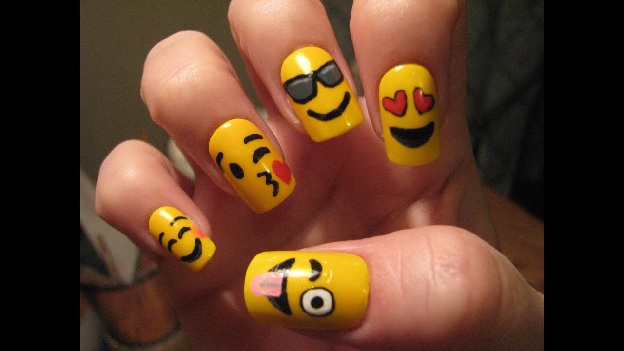 Emoji Nail Art Tutorial - YouTube