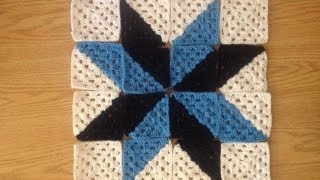 How to Crochet a Multi Color Granny Square Star Afghan