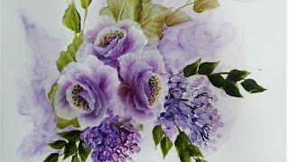 Pintando rosas e glicineas