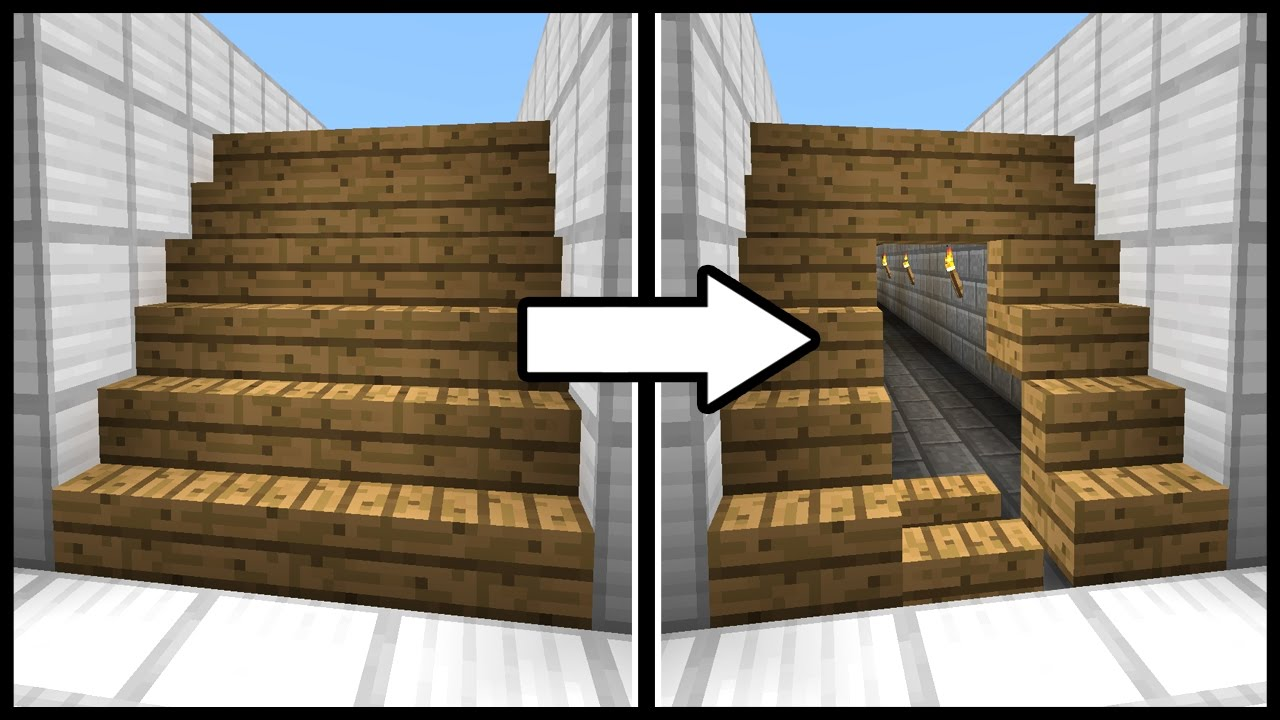 Hidden Staircase Doorway Minecraft Tutorial Youtube