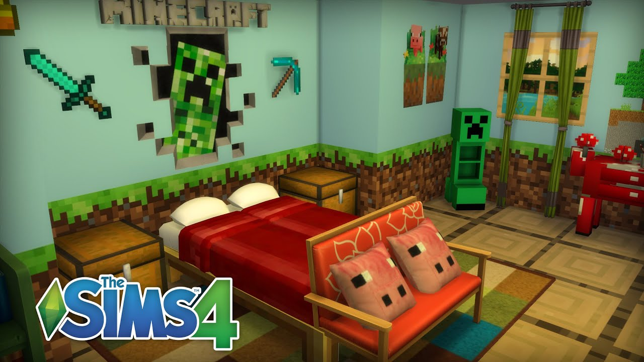 Sims 4 room build minecraft themed bedroom youtube for Bedroom ideas on minecraft
