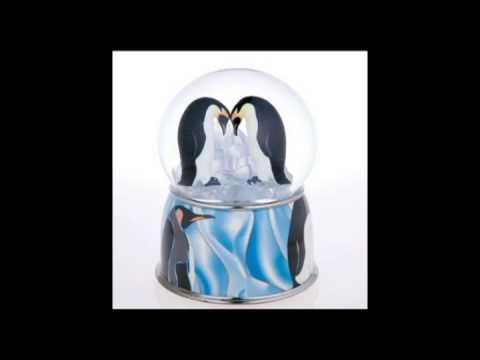Penguin Pair Musical Snow Globe Rotates Blows Glitter Side by Side Song