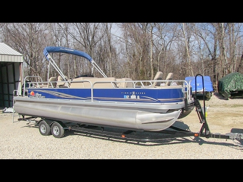 2014 Sun Tracker Fishing Barge 24DLX pontoon boat walk-around tutorial video