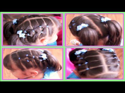 Peinado con ligas en forma de rombo facil y diferente para - Peinados para ninas faciles de hacer ...