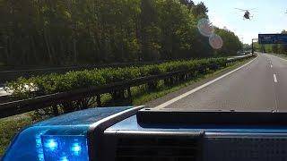 Polizei sperrt Autobahn für Rettungshubschrauber nach Unfall | POV GoPro Einsatzfahrt Inside