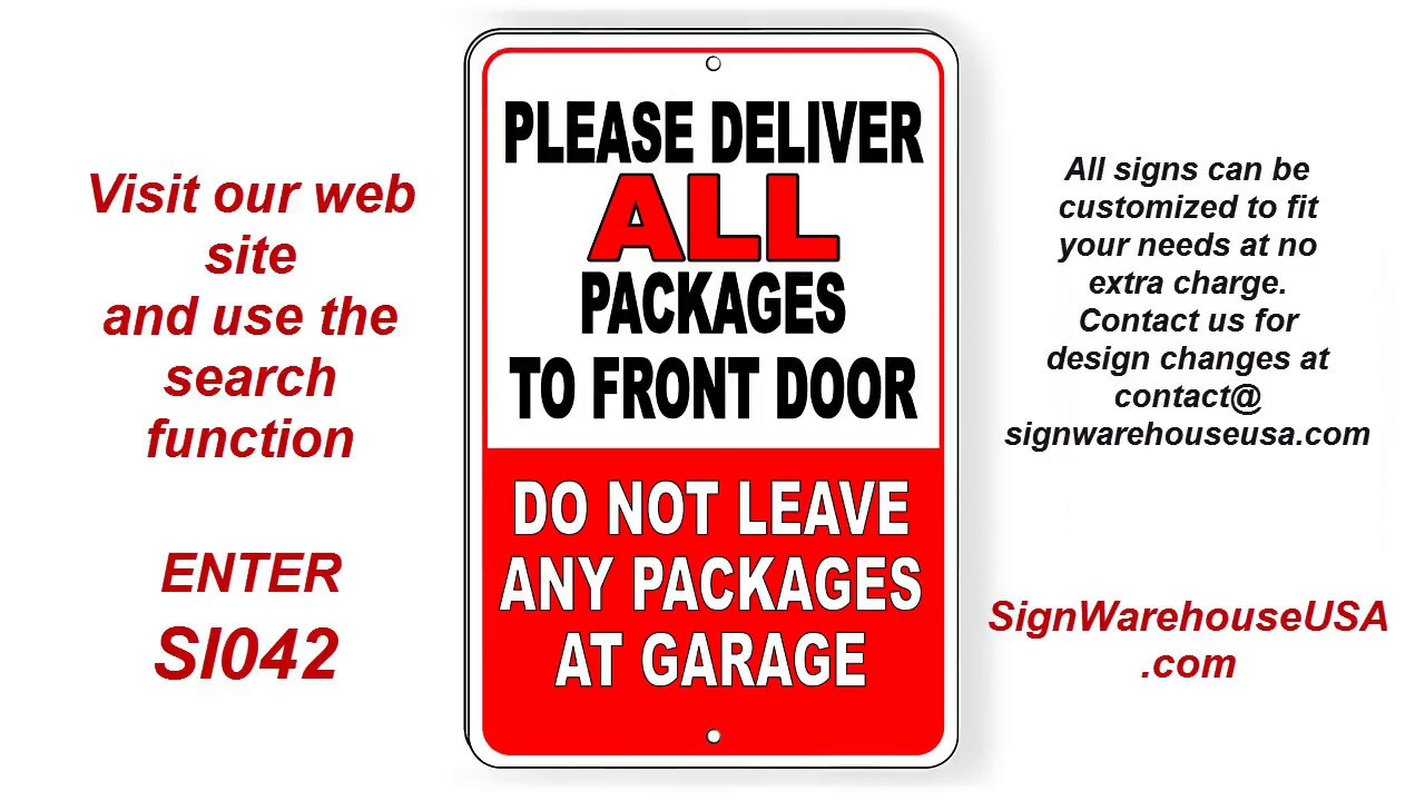 3fdb61df38bb Delivery Instructions Metal Signs USPS UPS FedEx Leave Packages Here  SignWarehouseUSA