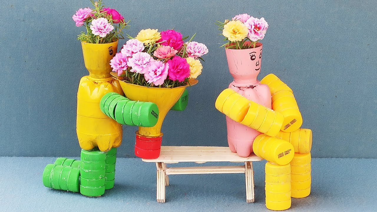 Recycle Plastic Bottles Into Funny Human Flower Pots | Beautiful Flower Pot Ideas For A Small Garden
