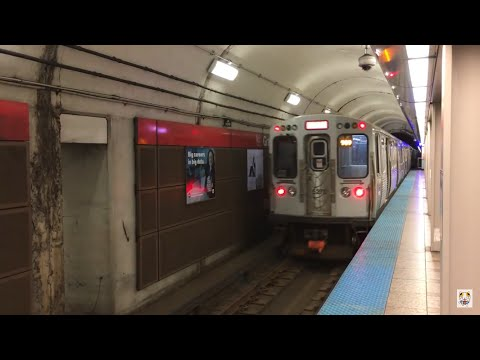 【アメリカ】 シカゴ・L (CTA) レッドライン グランド駅 Chicago 'L' Red Line Grand Station (2016.4)