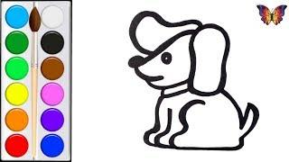 Как нарисовать СОБАКУ / мультик раскраска СОБАКА  для детей / Раскраски малышам