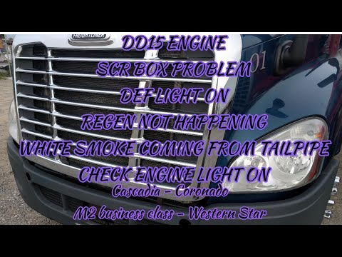 Freightliner Cascadia DD13 DD15 engine SCR problem bad SCR box DEF system  malfunction white smoke
