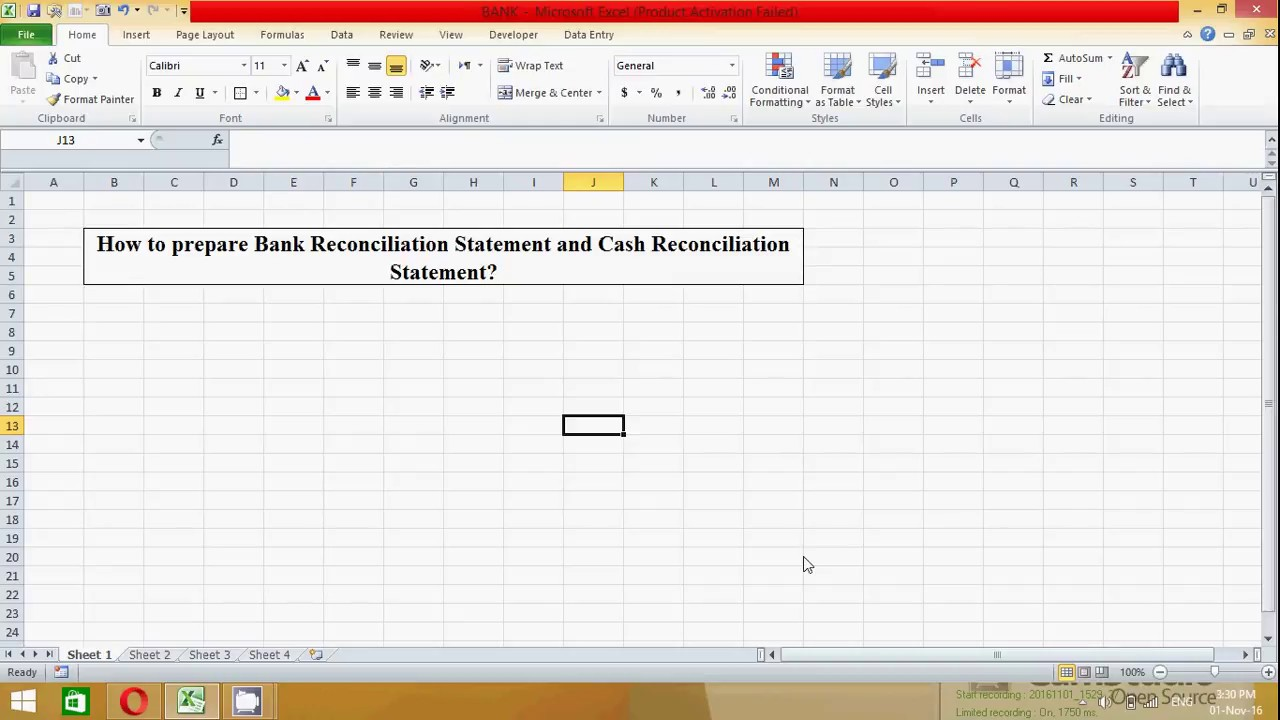 how to prepare bank reconciliation statement in excel spread sheet