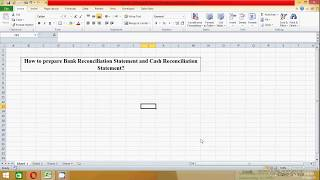 How to Prepare Bank Reconciliation Statement in excel spread sheet (Samir)