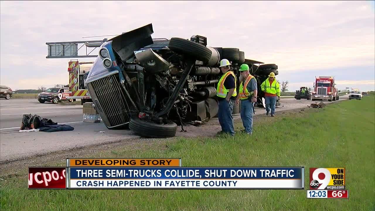 Crash involving 3 semis closes I-71 in Fayette County, Ohio