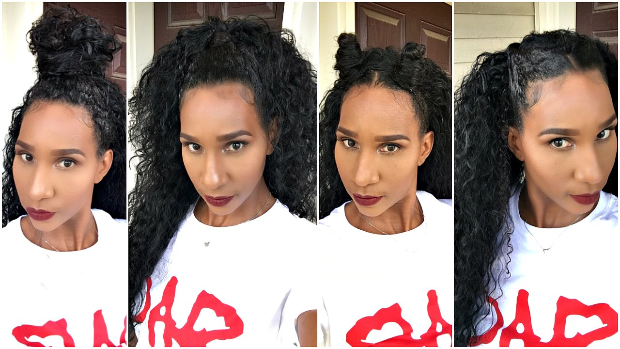 HOW TO STYLE A HALF WIG W NATURAL CURLY HAIR  0297c47081db