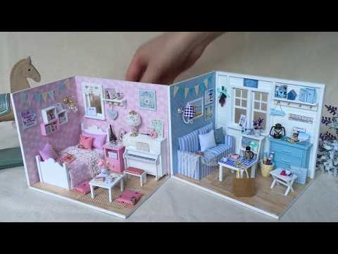DIY Doll House Miniature with Furniture Dust Cover Wooden Miniaturas Toys