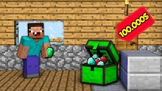 Minecraft NOOB vs PRO vs HACKER vs GOD : NOOB FOUND SUPER EMERALD CHEST FOR 100.000$ | Animation