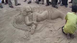 Sand art at Puri by Rakesh Mohanti