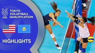 USA vs. KAZAKHSTAN - Highlights Women | Volleyball Olympic Qualification 2019