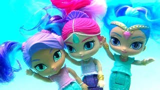 Mermaids Shimmer and Shine Pool Party with Barbie Swimming Underwater Magic Color Changing Dolls