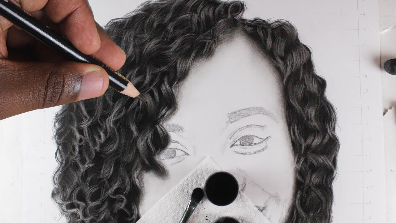 It is a graphic of Astounding Charcoal Hair Drawing