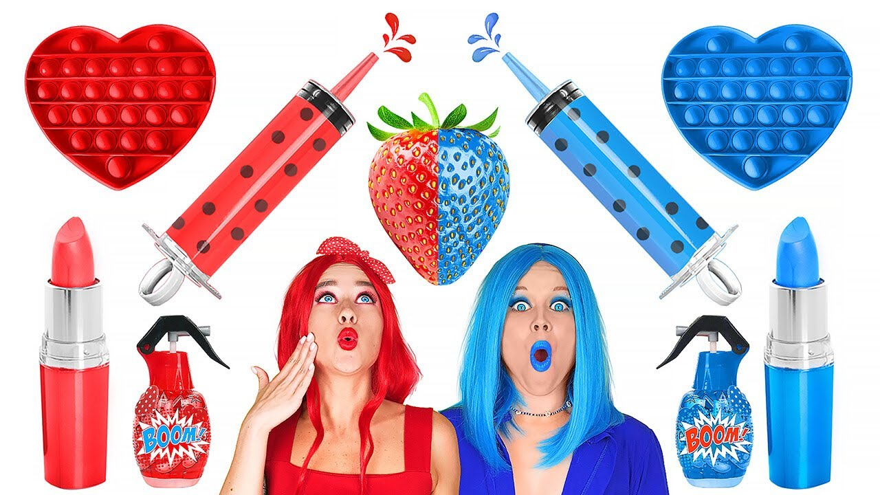 Download BLUE VS RED FOOD CHALLENGE || Eating Only 1 Color Food For 24 HRS! Mukbang by 123 GO! FOOD